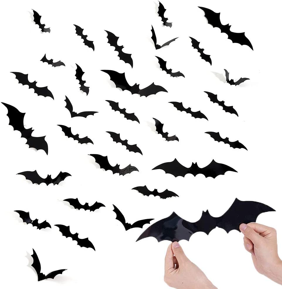 Hippie Soul 120 Pieces 3D Wall Sticker DIY Kit Halloween Party, Plastic Scary Bat Decals for DIY Home Window Decor Halloween Party Supplies