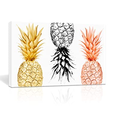 K-Road Framed Canvas Painting Pineapples Prints Home Wall Art Decor Fruit Picture Poster Office Kitchen Decoration 14 x 22in