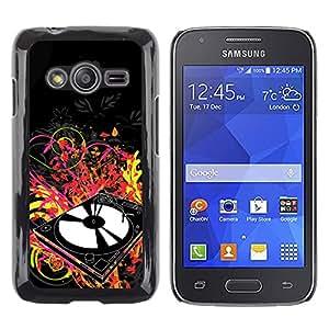 QCASE / Samsung Galaxy Ace 4 G313 SM-G313F / reproductor de vinilo dj set arte música disco de baile de neón / Delgado Negro Plástico caso cubierta Shell Armor Funda Case Cover