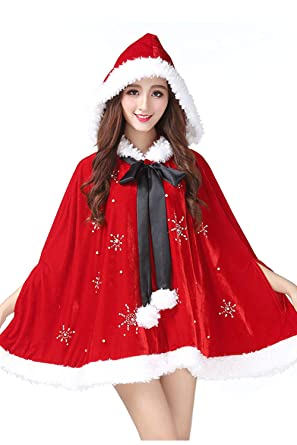 2e515b83ccb5 Adult Women Christmas Hooded Cloak Costume Mrs Santa Claus Velvet Fur Cape New  Year Fancy Dress with Rhinestone Red One Size(Bust 146cm Length 69cm): ...