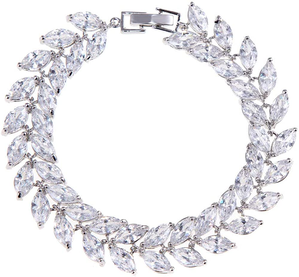 Desconocido 3A Pulsera de Diamantes de imitación de Cristal de Alta Gama, Unisex, diseño de Hojas Populares