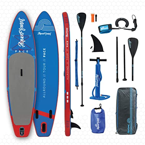 Aquaplanet Pace Kit Completo para Sup (Tabla de 3,2 x 76 cm x 15 cm). con Bomba de Aire, Pala, Mochila, Correa para la Pierna, Bolsa de Surf ...