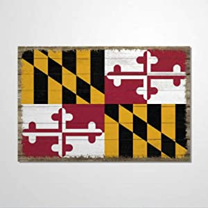 BYRON HOYLE Maryland State Flag Wood Sign,Wooden Wall Hanging Art,Inspirational Farmhouse Wall Plaque,Rustic Home Decor for Living Room,Nursery,Bedroom,Porch,Gallery Wall