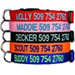 Custom Embroidered Dog Collars - Personalized ID Collars with Pet Name and Phone Number. Adjustable Sizes with Plastic Snap Closure.