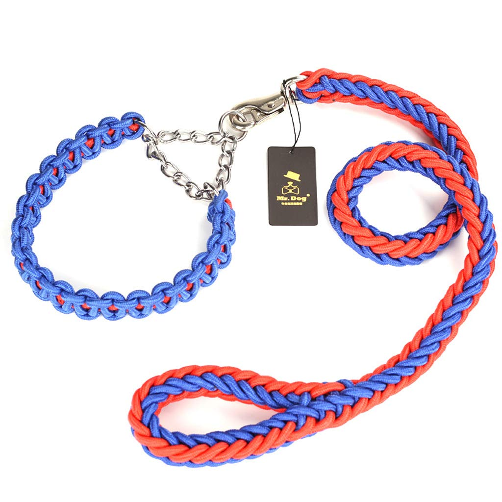 TLMY Medium large dog rope ring dog dog dog leash traction cord pet supplies (red and bluee) Pet Chain (Size   L) 04344d