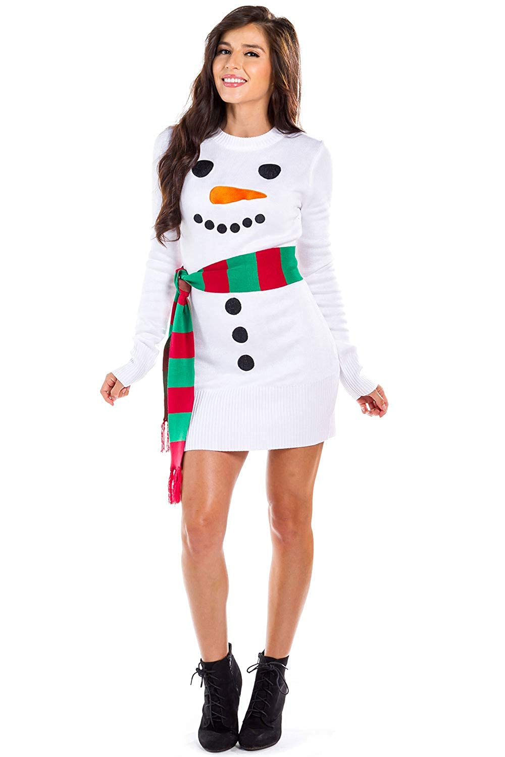 Ugly Christmas Dress.Women S Snowman Ugly Sweater Dress White Snowman Christmas Dress With Scarf