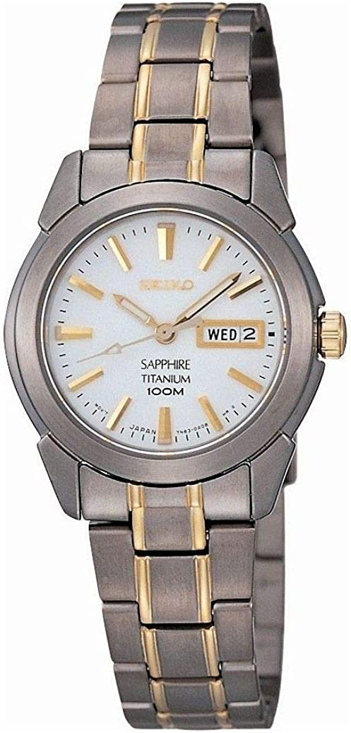 Seiko SXA115P1 - Reloj analógico de mujer de cuarzo con correa de titanio gris - sumergible a 100 metros