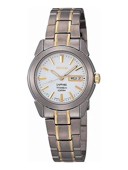 Seiko SXA115P1 - Reloj analógico de mujer de cuarzo con correa de titanio gris - sumergible a 100 metros: Amazon.es: Relojes