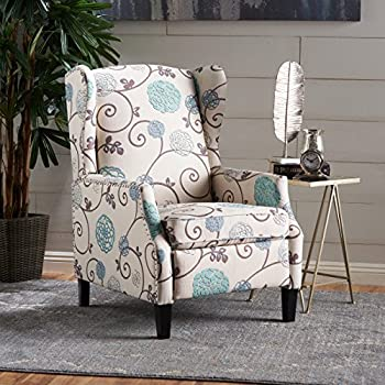 Westeros Traditional Wingback Fabric Recliner Chair (White U0026 Blue Floral)