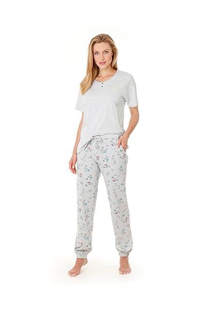 hajo - Pijama - Rayas - para mujer plata 38