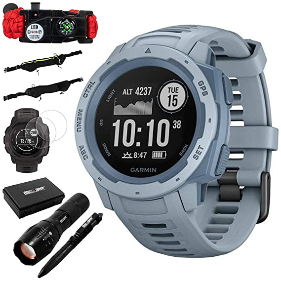 Garmin Instinct Rugged Outdoor Watch w/GPS and Heart Rate Monitoring Sea  Foam +Accessories Bundle Includes, Tactical Emergency Bracelet, Tactical