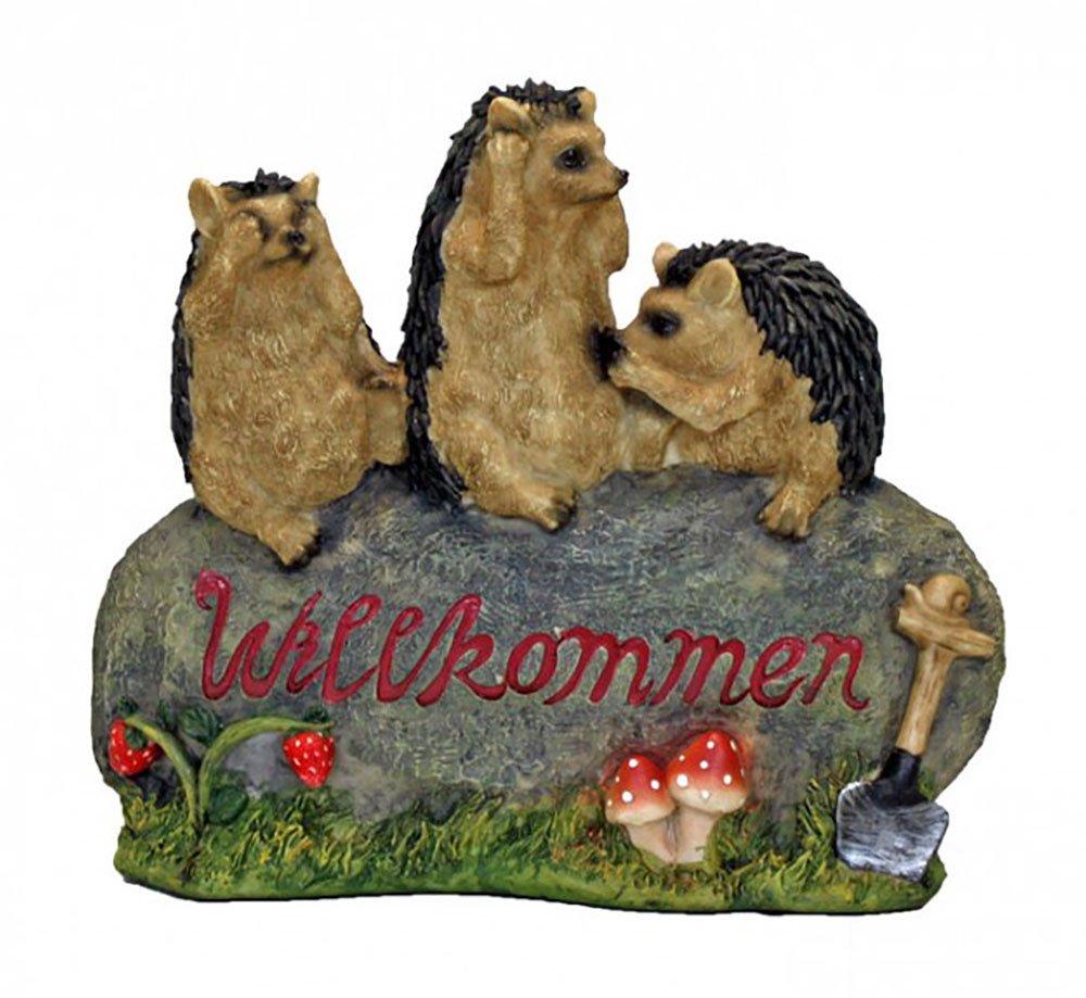 Gartendekoration Willkommenschild 3 Igel auf Stein Außendekoration Tierfigur