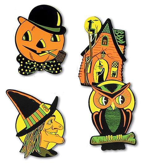 Retro Vintage Halloween Clip Art.Amazon Com Retro Vintage Halloween Cutouts Owl Witch Pumpkin