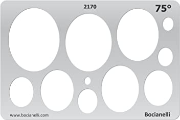 Bocianelli Plastic Stencil Template for Graphical Design Drawing Drafting Jewellery Making - Ovals Ellipse 75 Degrees