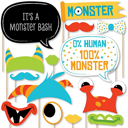 Monster Bash - Little Monster Birthday Party or Baby Shower Photo Booth Props Kit - 20 Count -