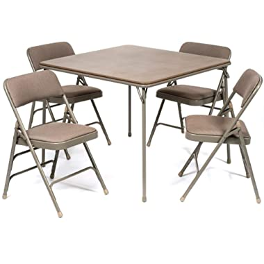 XL Series Folding Card Table and Fabric Padded Chair Set (5pc) - Comfortable Padded Upholstery - Fold Away Design, Quick Storage and Portability - Premium Quality (Beige)