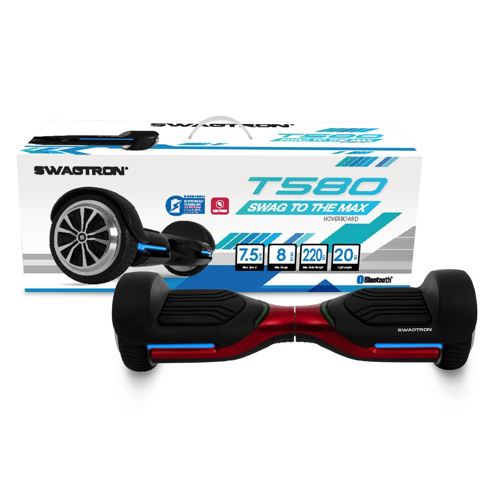 App-Enabled SWAGTRON T580 Bluetooth Hoverboard w/ Speaker Smart Self-Balancing Wheel – Available on iPhone & Android (Red)