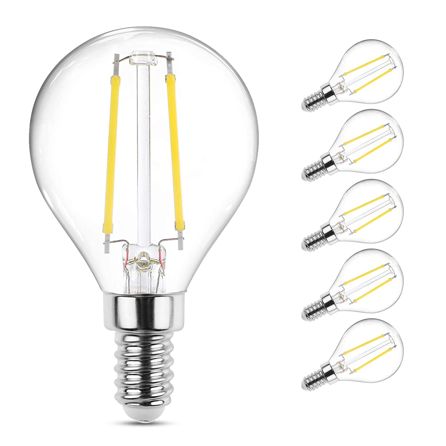 Ascher E12 LED Classic Candelabra Clear Light Bulb, 4W, Equivalent 40W, Daylight White 5000K, Filament Clear Glass, Non dimmable/Pack of 5
