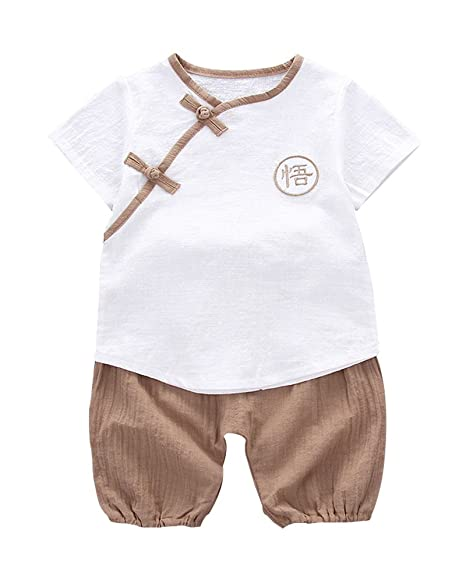 cf986b75a6d63 Amazon.com: Kids Clothes Tang Suit Boys Summer Short-Sleeved Cotton ...