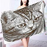 PRUNUS Ultra Soft and Absorbent Bath Towel of a Kitty Domestic Animal Hipster Best Company Fluffy Pet Graphic Art Chocolate for Maximum Softness