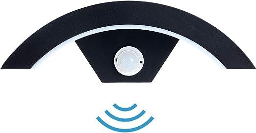 Combuh Aplique Pared LED Impermeable con Sensor de Movimiento IP54 12W Aluminio Apliques de Exterior Adecuado para JardíN Frente Baño Porche Garaje Blanco CáLido 3000K 290 * 100 * 90MM: Amazon.es: Iluminación