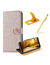 Wallet Leather Case for Samsung Galaxy A8 Plus 2018,Flip Cover for Samsung Galaxy A8 Plus 2018,Herzzer Stylish Premium Solid Color Gold Glitter Love Heart Magnetic Closure Stand Case with Inner Soft Rubber Protective Case
