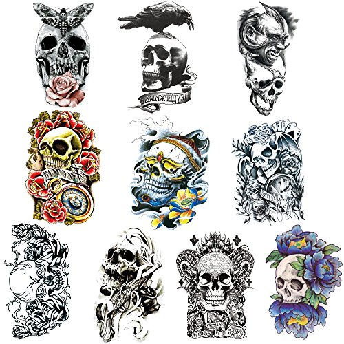 KTCLCATF 10 Sheets Temporary Tattoos Arm, Body ,Chest ,Back Tattoo Sticker for Men and Women (KUL02-10 (Halloween Zombie Makeup For Guys)