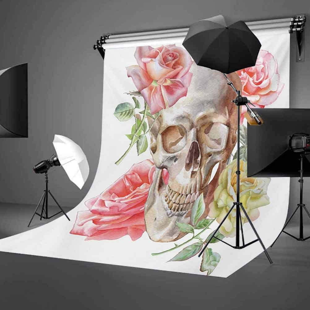 Rose 10x12 FT Backdrop Photographers,Tender Blossoms with Hand Drawn Style Watercolor Skull Figure Mexican Festive Gothic Background for Party Home Decor Outdoorsy Theme Vinyl Shoot Props Multicolor