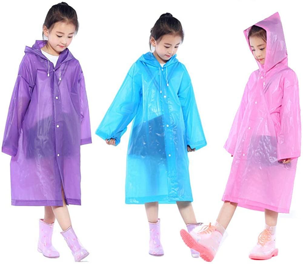 Kids Poncho Rain Jacket with Backpack Position for 3-12 Years Old Boys TRIWONDER Raincoat Rain Gear for Girls