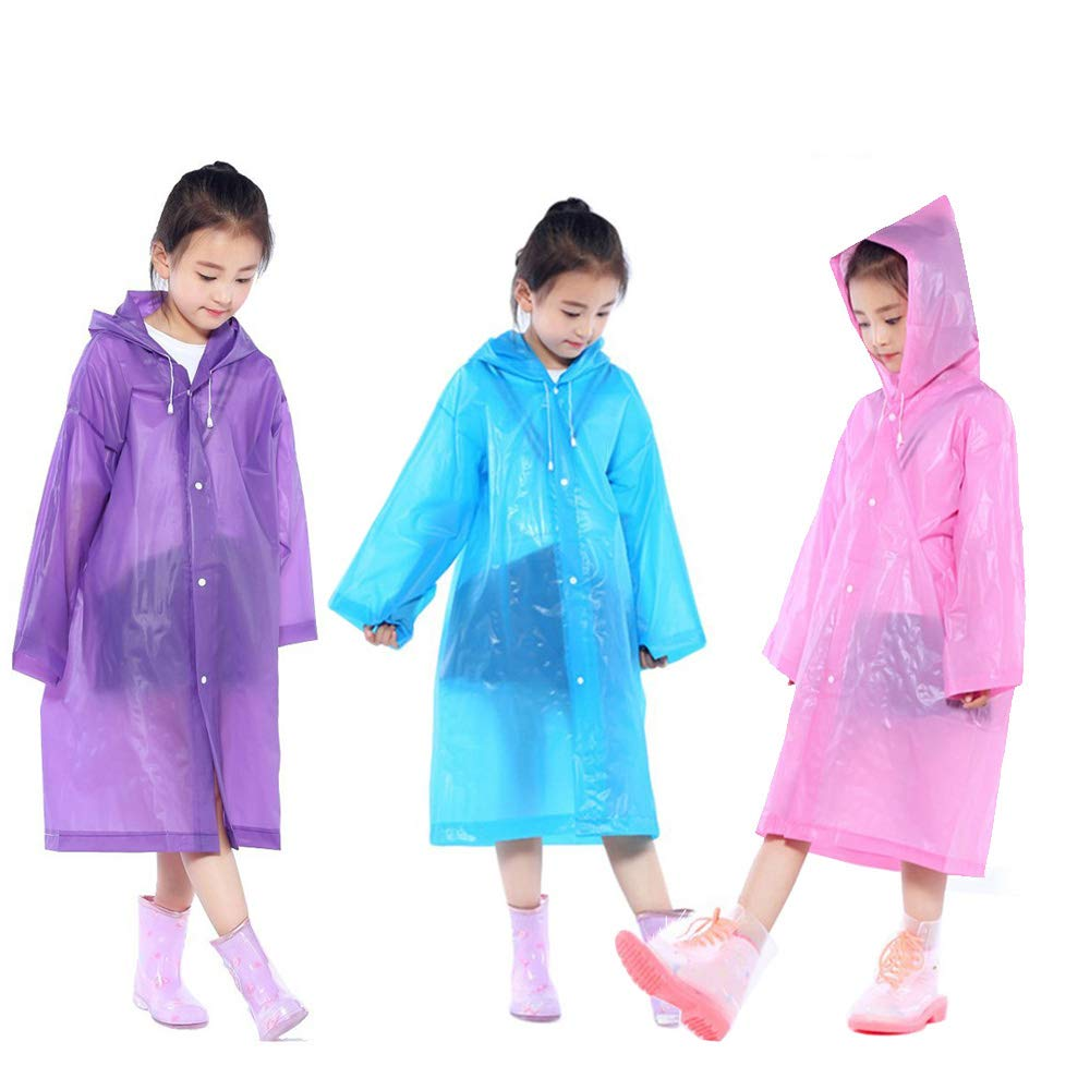 Nyicey Kids Rain Ponchos, 3 Packs Portable Reusable Emergency Raincoats for 6-12 Years Old for Camping Hiking Traveling Backpacking