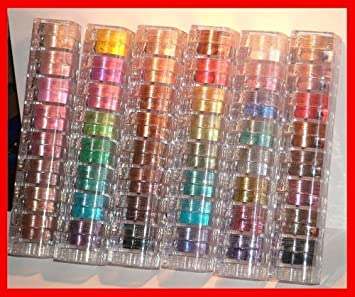 Bundle of 6 Items Mica Beauty Mineral Makeup 8 stacks Eye Shimmers Assorted Colors