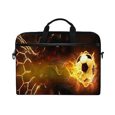 ALAZA Flying Soccer Football Brown Fire 15 15.6 inch Laptop Case Shoulder Bag Crossbody Briefcase Messenger Sleeve for Women Men Girls Boys with Shoulder Strap Handle, Back to School Gifts for Her Him