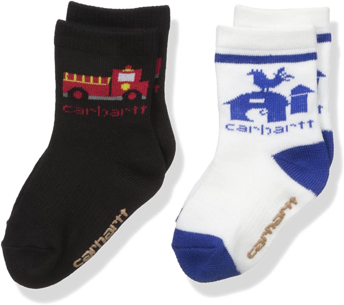 Carhartt Toddler Boys 2 Pack Infant-Toddler Crew Socks with Grippers