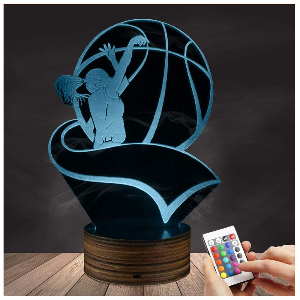 Novelty Lamp, 3D LED Lamp Optical Illusion Basketball Night Light, USB Powered Remote Control Changes The Color of The Light, Bedroom Children's Christmas Birthday Best Gift,Ambient Light