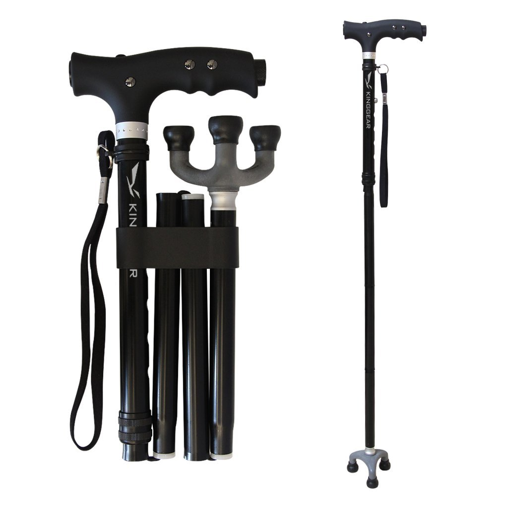 KingGear Travel Adjustable Folding Canes and Walking Sticks for Men and Women - Led Light and Easy Grip Handle for Arthritis Seniors Disabled and Elderly - Best Mobility Aids Cane (Black)