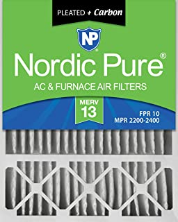 6 Piece Nordic Pure 24x24x1 MERV 12 Pleated Plus Carbon AC Furnace Air Filters 24x24x1PM12C