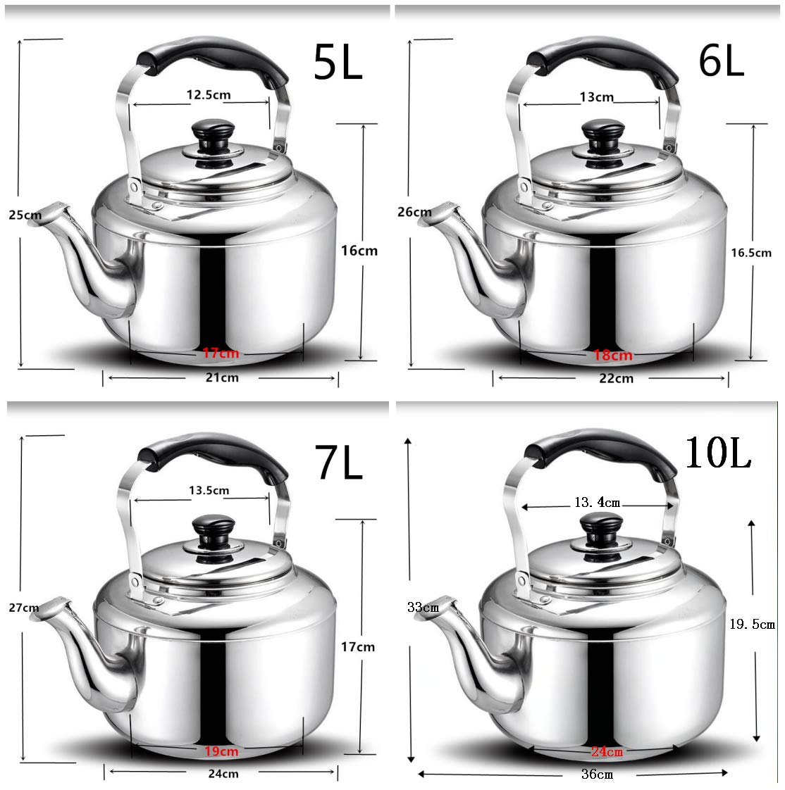 Extra Sturdy Stainless Steel Whistling Tea Kettle for Stovetop Induction Cooker, 10 Quart by Towa (Image #7)