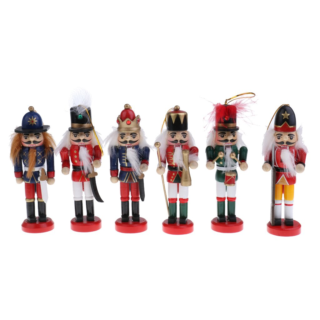 Jili Online 6Pcs 12cm Wooden Nutcrackers Soldiers Vintage Handcraft Puppets Decorative Ornaments Home Decoration Children Kids Christmas Gifts