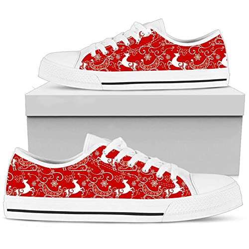 c426011f2f075 Amazon.com: Hand Painted Printed Canvas Shoe Red Christmas White ...