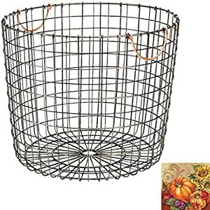 Extra Large Round Wire Decorative Storage Bin - Antique Pewter with Copper Handle - Huge basket Large storage baskets Wire basket Shelf baskets Laundry Baskets - Threshold