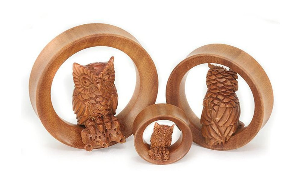 Elementals Organics 3D Perching Owl on SABA Wood Tunnel 20mm up to 50mm - Price Per 1-50mm ~ 2''