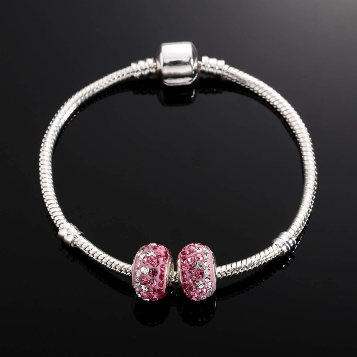 Red Hicarer 2 Pieces DIY Beads Jan-Dec Simulated Birthstone Charms Beads Crystal Charm Fit Bracelets Necklace
