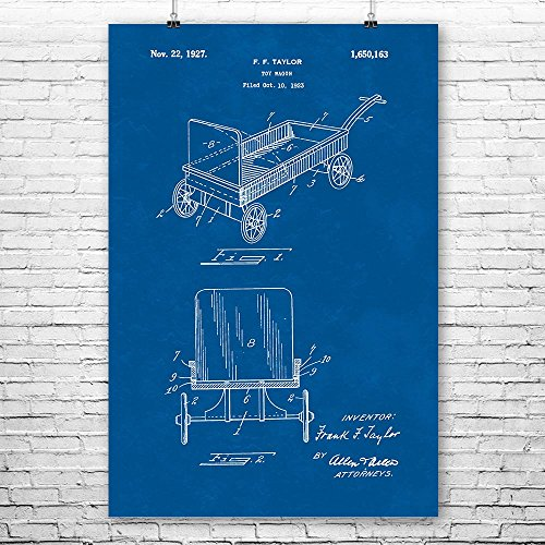 Toy Pull Wagon Poster Art Print, Wagon Wall Art, Red Wagon, Toy Wagon, Toy Gift, Vintage Wagon, Patent Art, Patent Print Blueprint (8