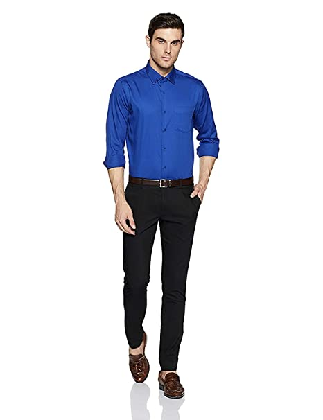 cc031436db AKAAS Men s Checkred Slim Fit Formal Shirt Royal Blue  Amazon.in  Clothing    Accessories