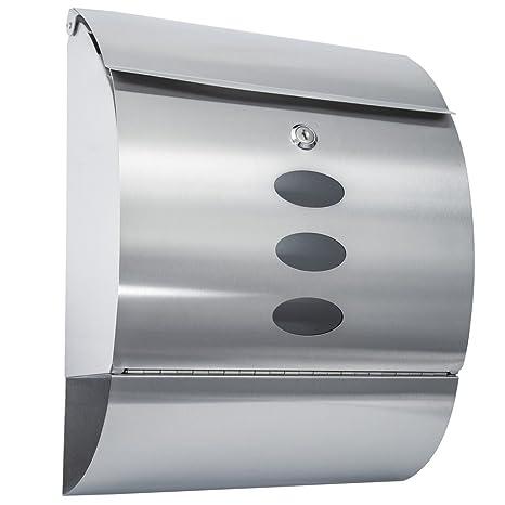 TecTake Buzón de acero inoxidable con soporte para periódicos correos Capa protectora - varios modelos - (Tipo 2 | No. 400498)