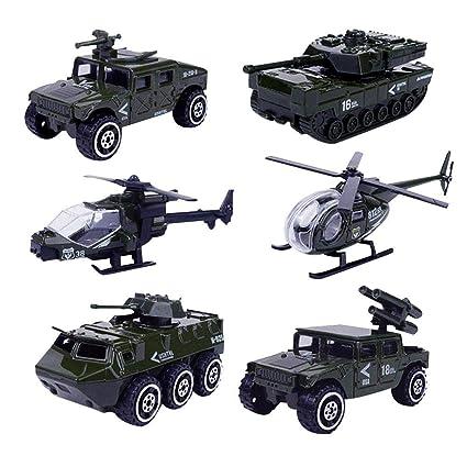 6pcs Ejército de vehículos militares Juego de vehículos de metal 1 ...