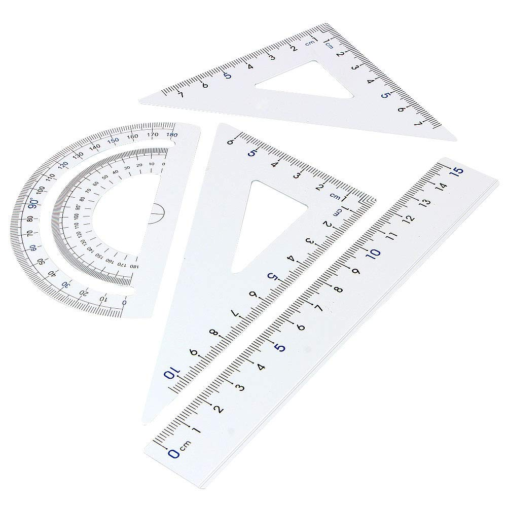 Metal Protractor - 4pcs/pack Students Drawing School Supplies Set Square Triangle Ruler Aluminum Alloy Protractor/four Sets - Samoda by Samoda