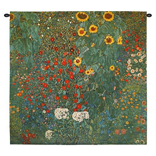 Farm Garden with Sunflowers by Gustav Klimt - Woven Tapestry Wall Art Hanging for Home Living Room & Office Decor - Nature Mixed Flower/Floral - 100% Cotton - USA (Gustav Klimt Garden)
