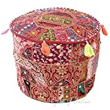 Eyes of India 17 X 12 Small Burgundy Red Decorative Round Pouf Pouffe Ottoman Cover Seating Boho Bohemian Indian