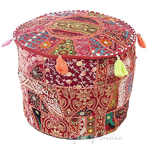 Eyes of India 17 X 12 Small Burgundy Red Decorative Round Pouf Pouffe Ottoman Cover Seating Boho Bohemian Indian by Eyes of India